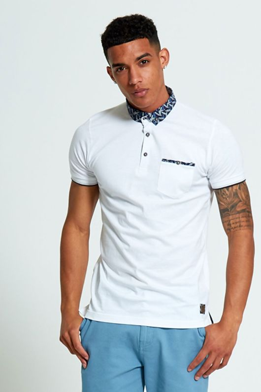 Brave Soul Feather Print Collar Polo Shirt
