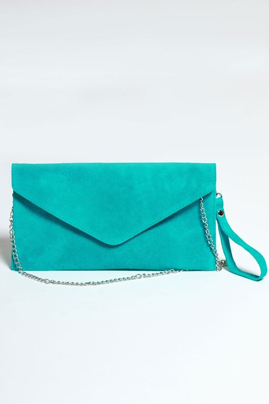 Turquoise Suede Envelope Clutch Bag