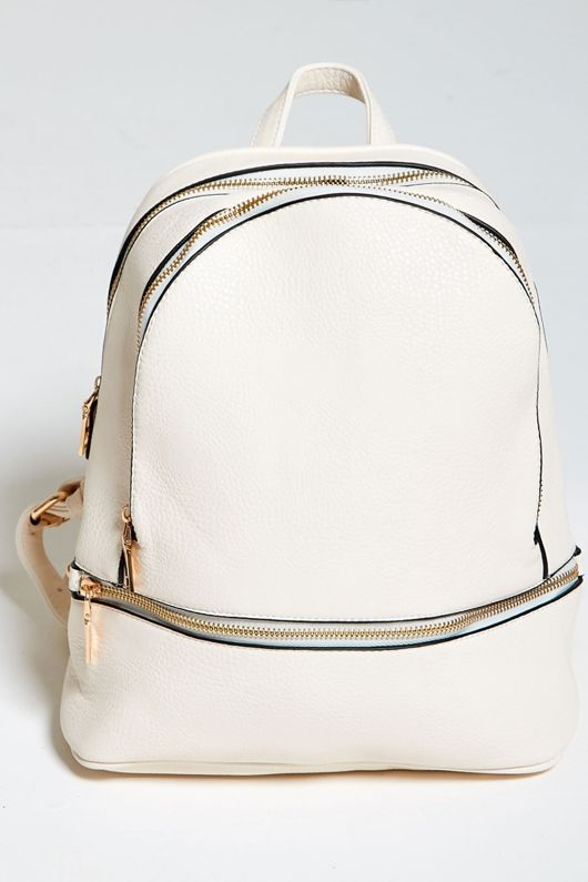 White Pu Leather Backpack