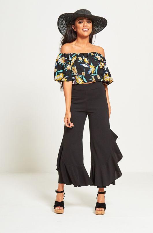 Black Asymmetry Drape Frill Trouser