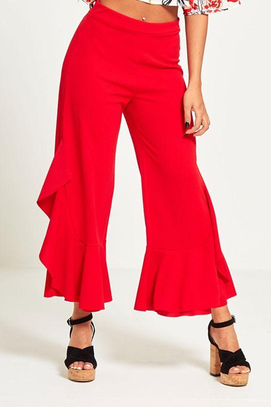 Red Asymmetry Drape Frill Trouser -Copy