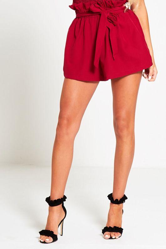 Wine Ruffle High Waist Shorts