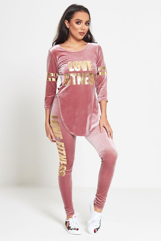 Pink Love Fitness Velour Top