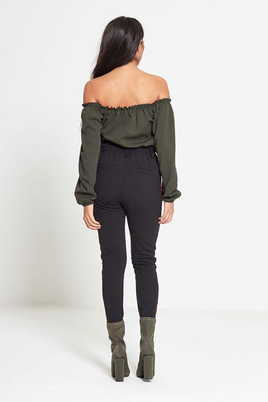 Black Tapered Stripe Detail Trouser-Copy