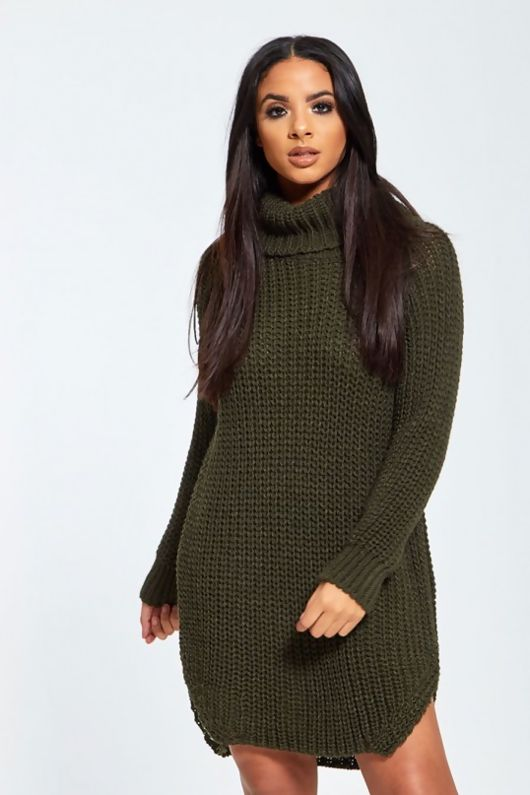 Green High Neck Knitted Jumper Dress