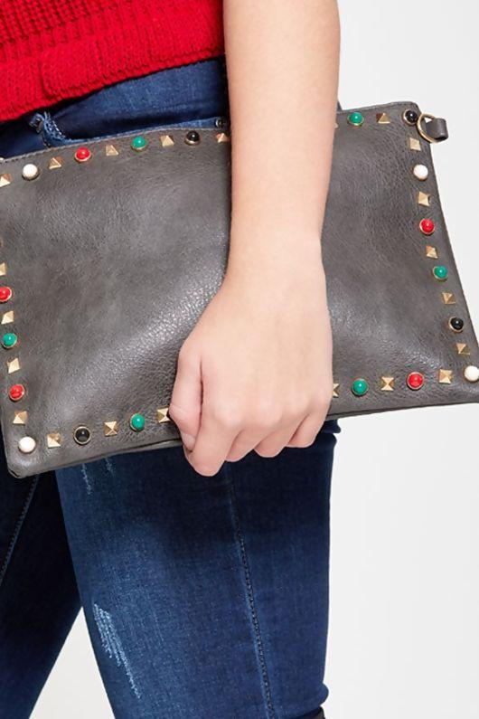 Grey Studded Shoulder Clutch Bag