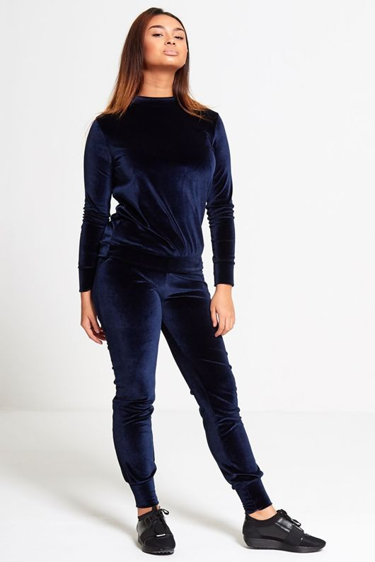 Navy Velour High Neck Loungewear Top