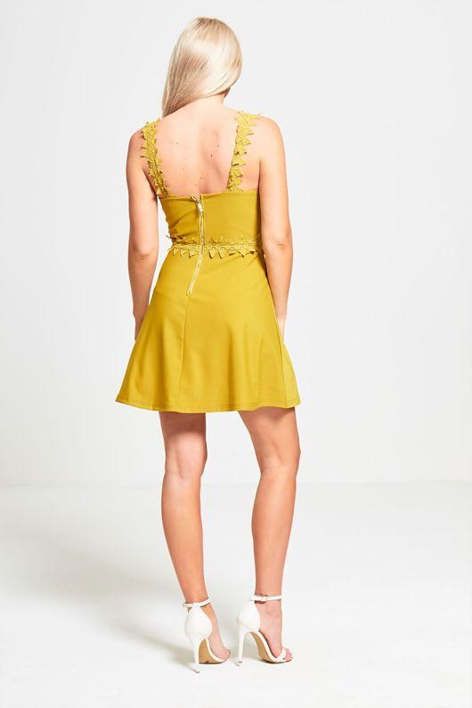 Green Crochet Strap Skater Dress