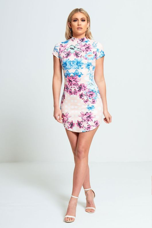 Pink Floral Faux Suede Bodycon Mini Dress