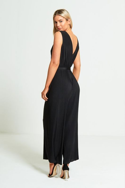 Black Culotte Pleated Jumpsuit