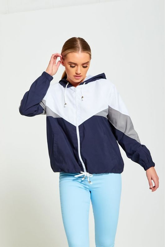 NAVY ZIP THROUGH HOODED JACKET