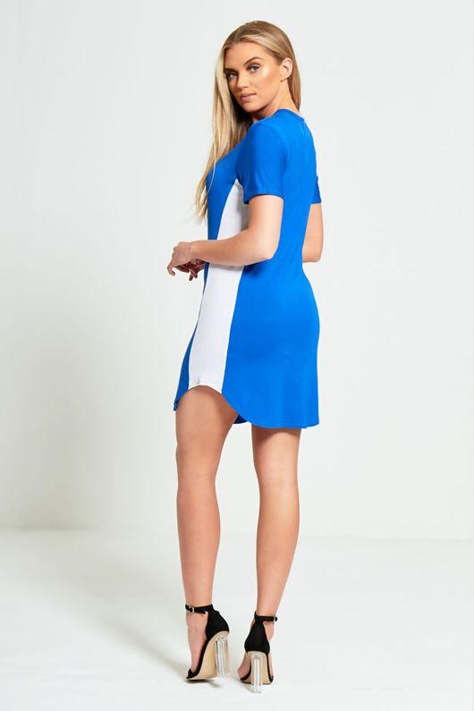 Blue Bodycon White Panel Mini Dress