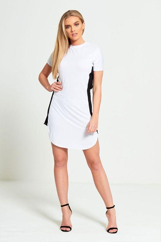 White Bodycon White Panel Mini Dress-Copy