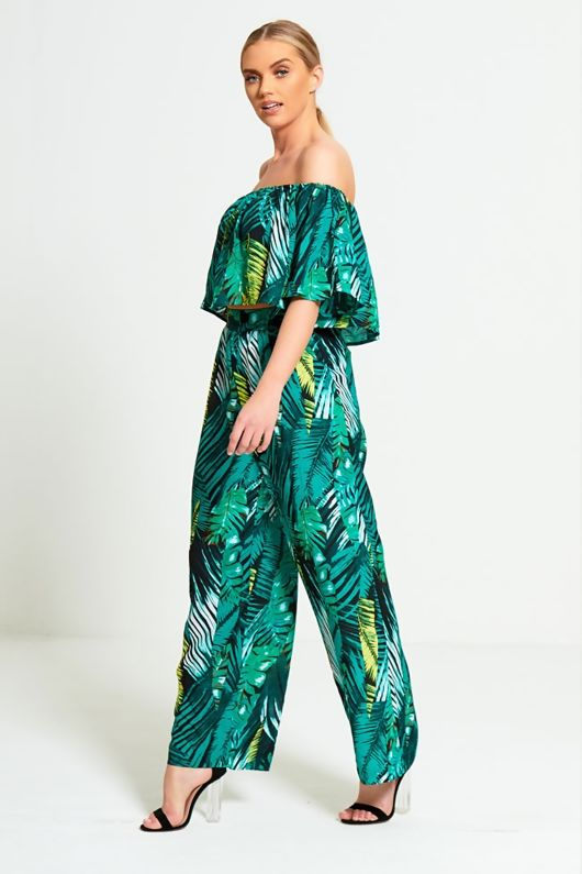 Green Tropical Print Wide Leg Trousers Set