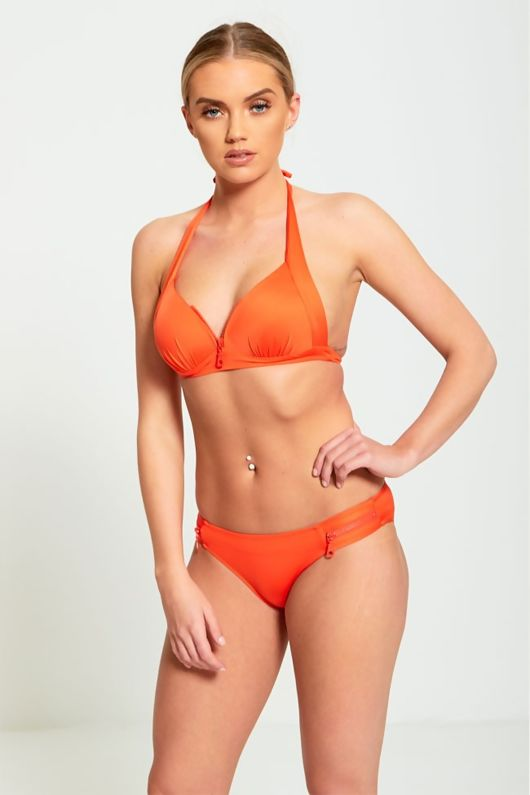 Orange Zip Detail Bikini