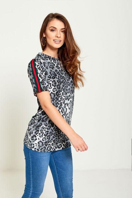 Grey Leopard Stripe T-Shirt