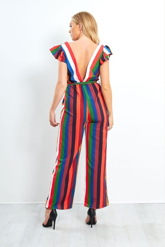 Multicolourred Striped Frill Shoulder Jumpsuit