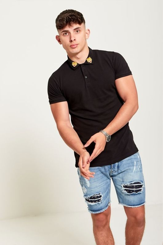 Black Tiger Embroidered Collar Polo T-Shirt