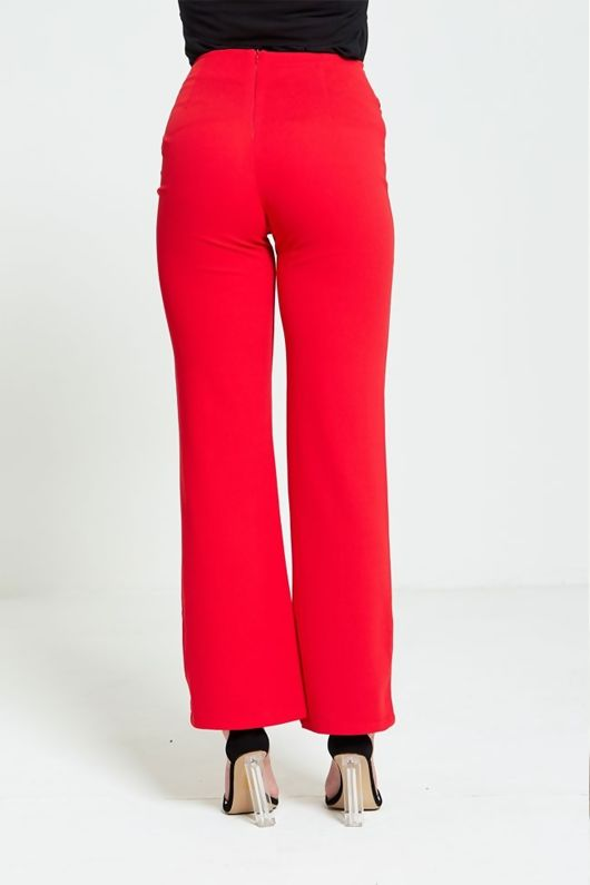Red Zip Detailing Wide Leg Trousers