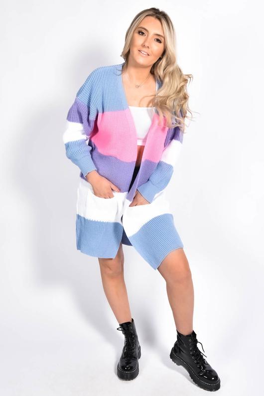 Blue Colour Block Longline Cardigan