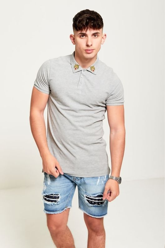 Tiger Embroidered Collar Polo T-Shirt