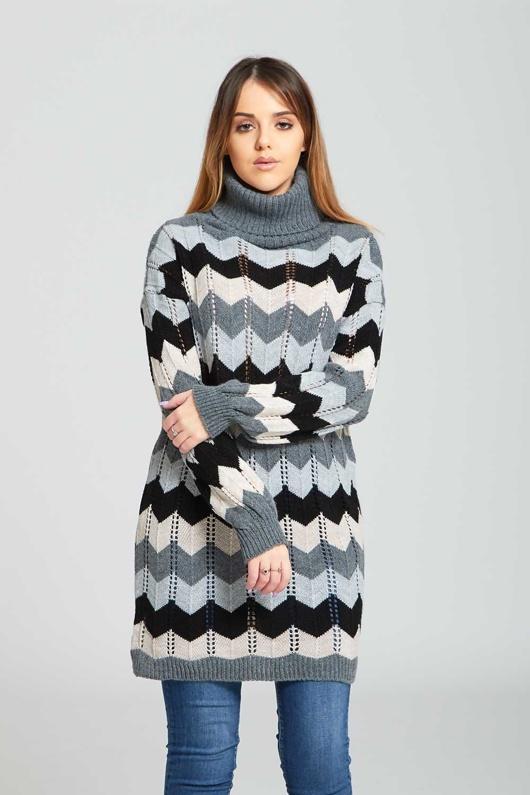 Womens Grey Roll Neck Pattern Jumper