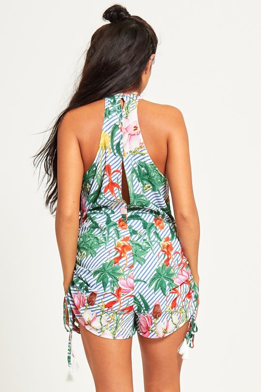 Green Tropical Floral Halterneck Playsuit