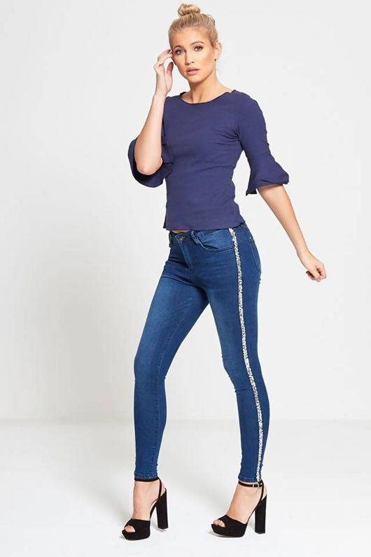 Denim Silver Sequin Stripe Skinny Jeans