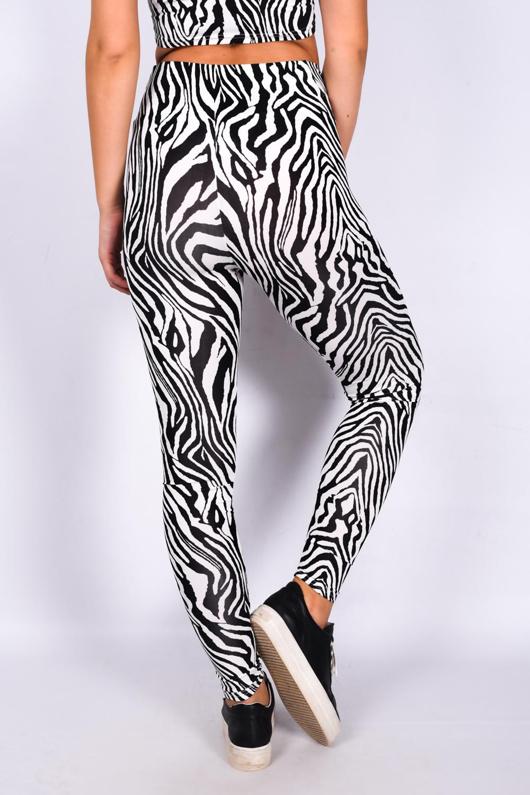 Black Zebra Print Asymmetrical Strap Top And Leggings Active Set