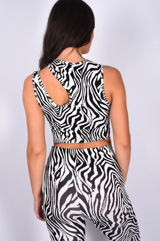 Black Zebra Print Asymmetrical Strap Top And Leggings Active Set
