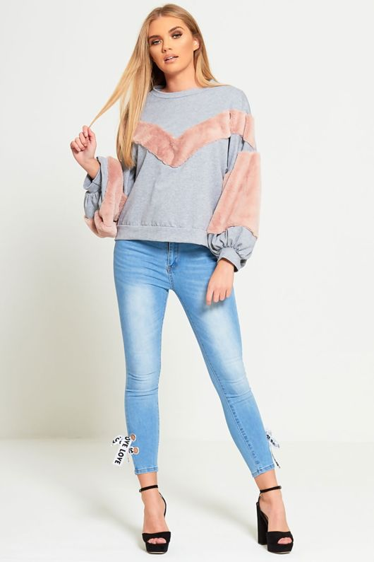 Love Ribbon Tie Light Denim Skinny Jeans