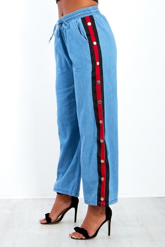 Light Denim Popper Wide Leg Trousers