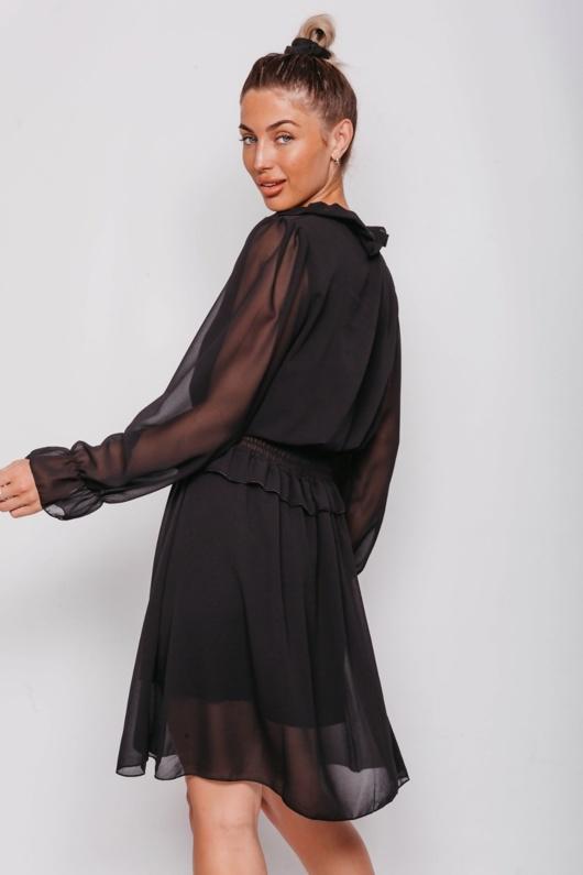 Black Tie Neck Shirred Waist Mini Dress