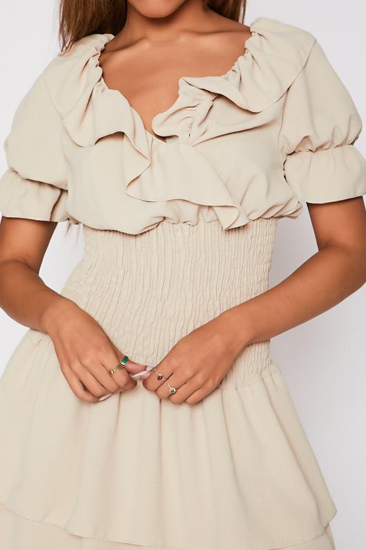 Beige Ruffle Neck Shirred Waist Tiered Dress