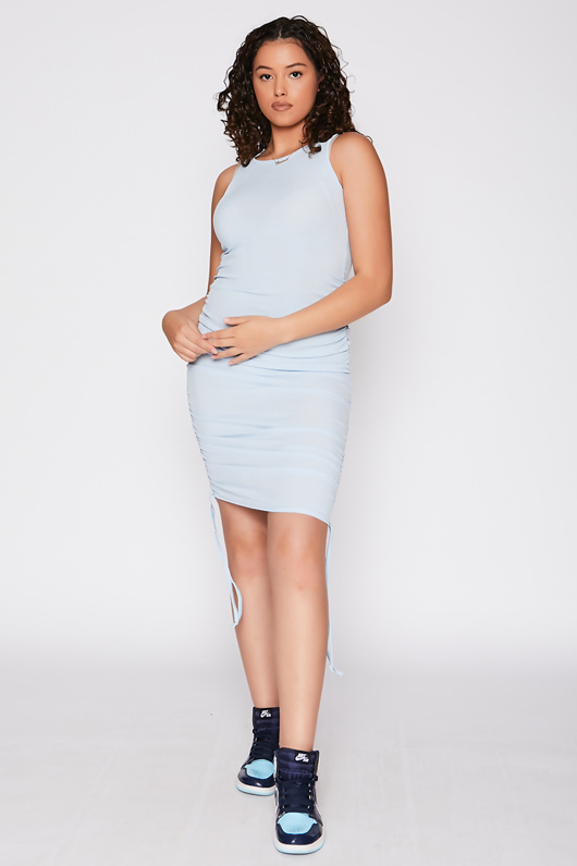 Blue Ribbed Side Ruched Drawstring Bodycon Dress