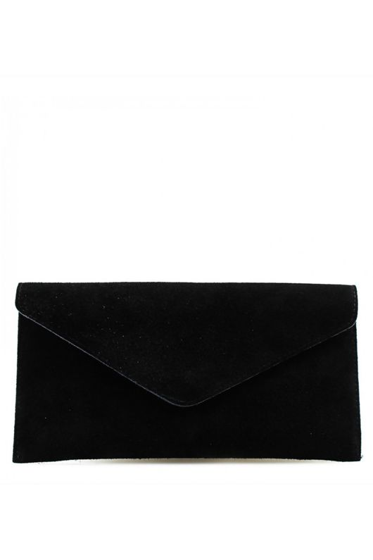 Black Suede Leather Luxe Clutch Bag