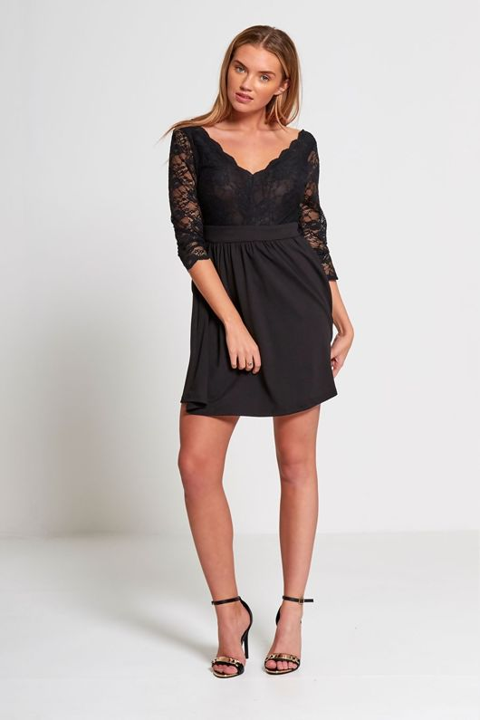 Black Plunge Neck Floral Lace Mini Dress