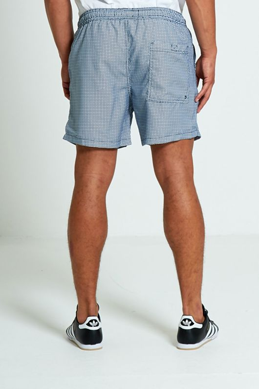 Navy and White checks Printed Swim Shorts