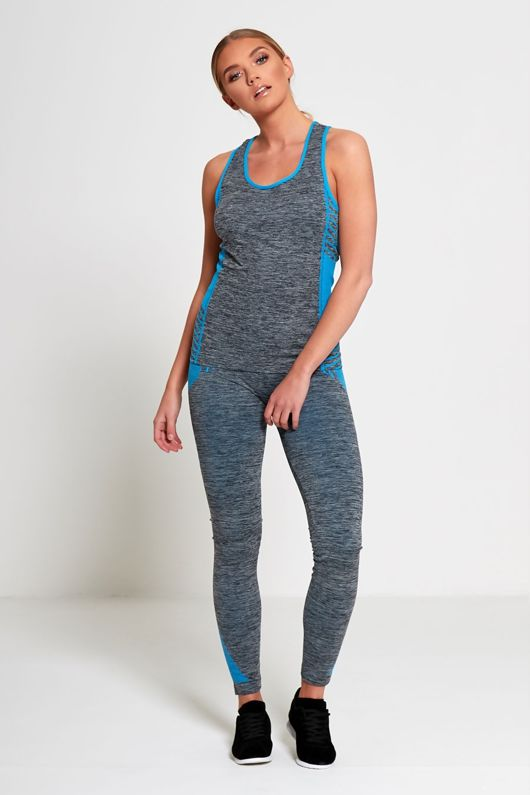 Blue Sports Stripe Activewear Top