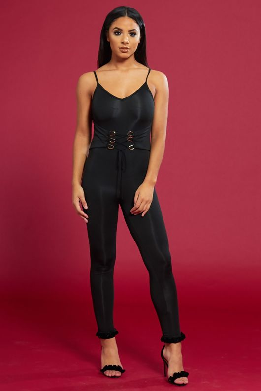 Figure Hugging Lace Up Black Jumpsuit