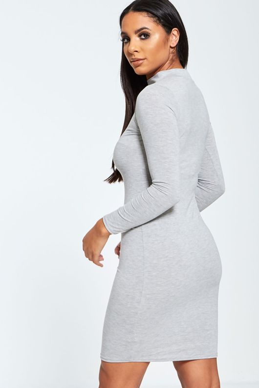 Megan Grey Choker Neck Bodycon Dress