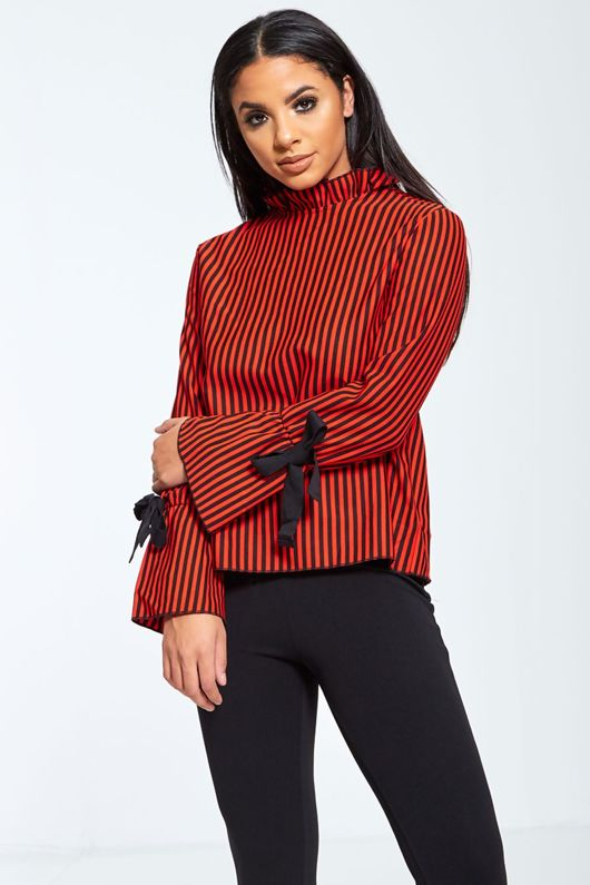 Open Back Striped Ribbon Tie Top
