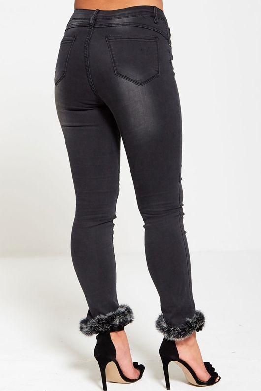 Charcoal Faux Fur Hem Skinny Jeans