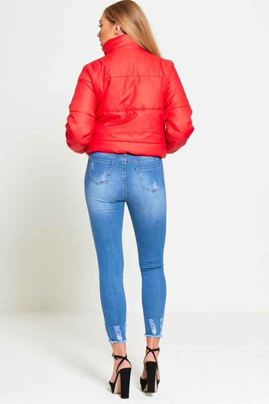 Red HIGH NECK CROPPED PUFFER JACKET
