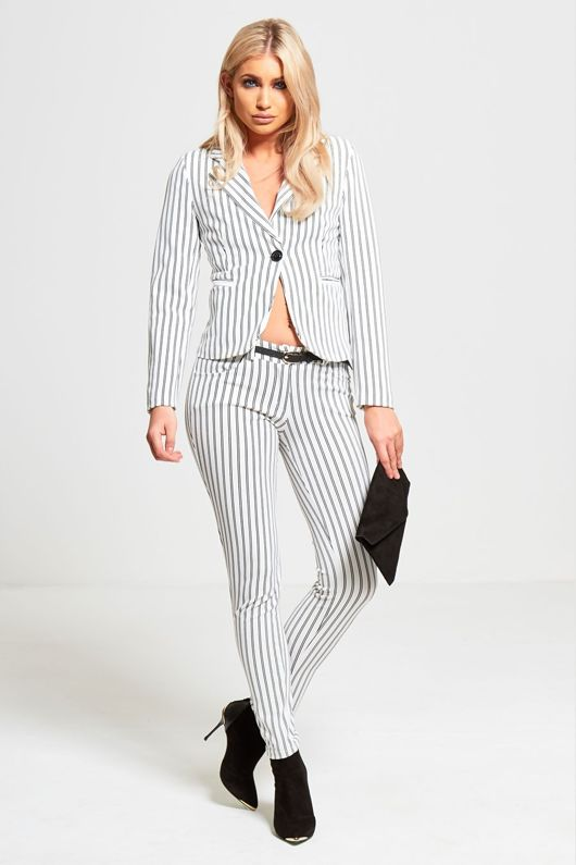 White Striped Slim Fit Blazer