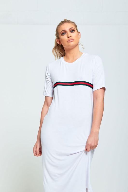 White Basic T-shirt Dress With Stripe Detail