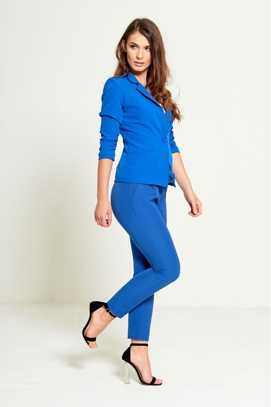 BLUE RUCHED SLEEVES FITTED BLAZER