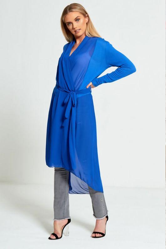 Blue Chiffon Belted Longline Cardigan