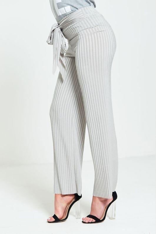 Grey Pleated Wide Leg Trousers