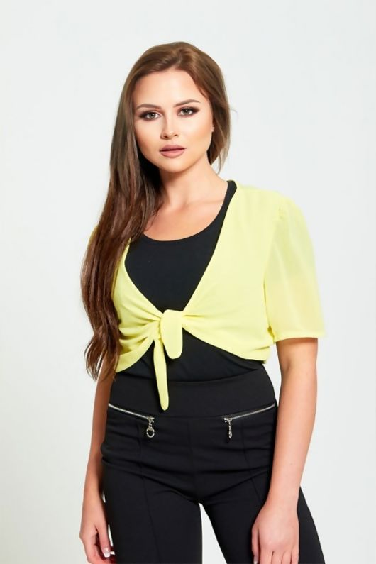 Yellow Mesh Front Tie Shrug